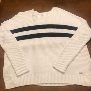 Hollister White/Navy sweater size Small